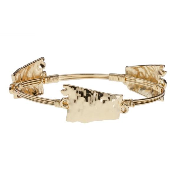 Wholesale gold Alabama wire wrapped bangle bracelet Made zinc alloy Nickel lead