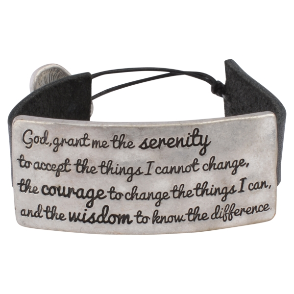 Wholesale black faux leather bracelet burnished silver plate stamped Serenity Pr