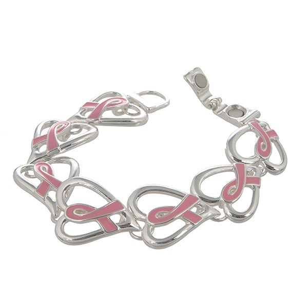 Wholesale silver magnetic snap bracelet hearts pink breast cancer awareness ribb