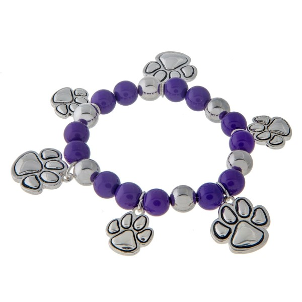 Wholesale purple beaded stretch charm bracelet silver paw print charms