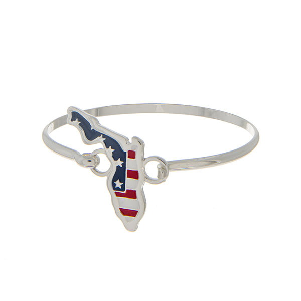 Wholesale silver latch bangle bracelet American flag inspired state Florida