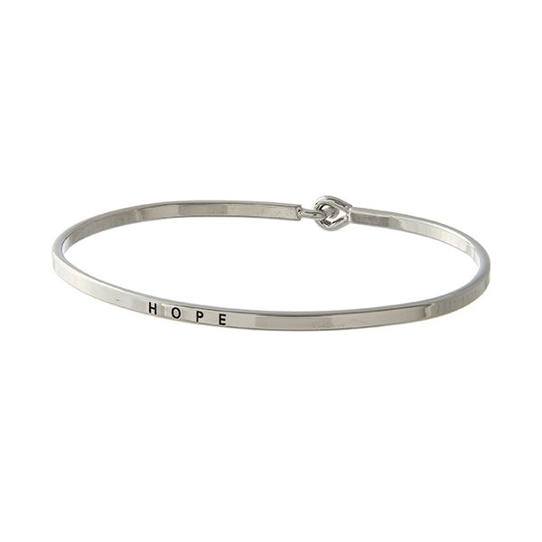 Wholesale silver latch bangle bracelet stamped HOPE
