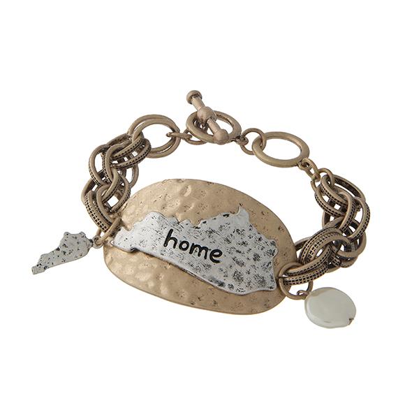 Wholesale burnished gold toggle bracelet displaying hammered plate burnished sil