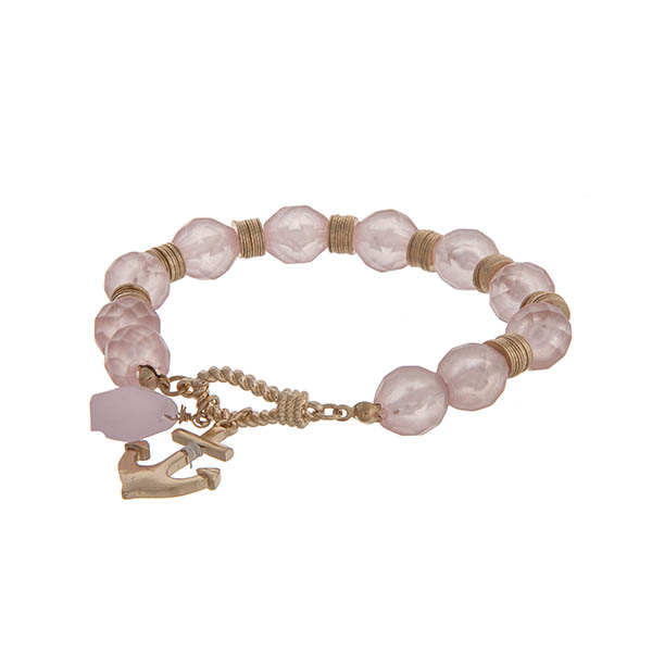 Wholesale pink glass beaded stretch bracelet gold anchor charm