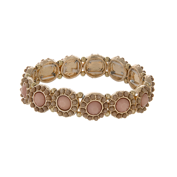 Wholesale gold stretch bracelet displaying disk pink cabochons tan beads