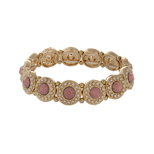 Wholesale gold stretch bracelet displaying disk pink rhinestones ivory beads
