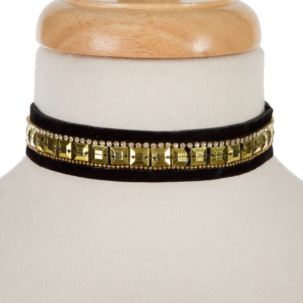 Wholesale black fabric choker gold squares rhinestone accents Can also be worn w