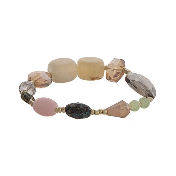 Wholesale pink champagne mint stone stretch bracelet