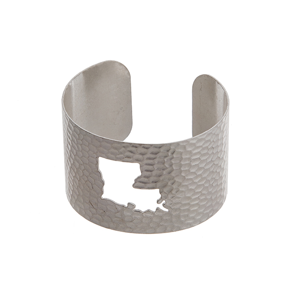 Wholesale silver hammered Louisiana state cuff bracelet