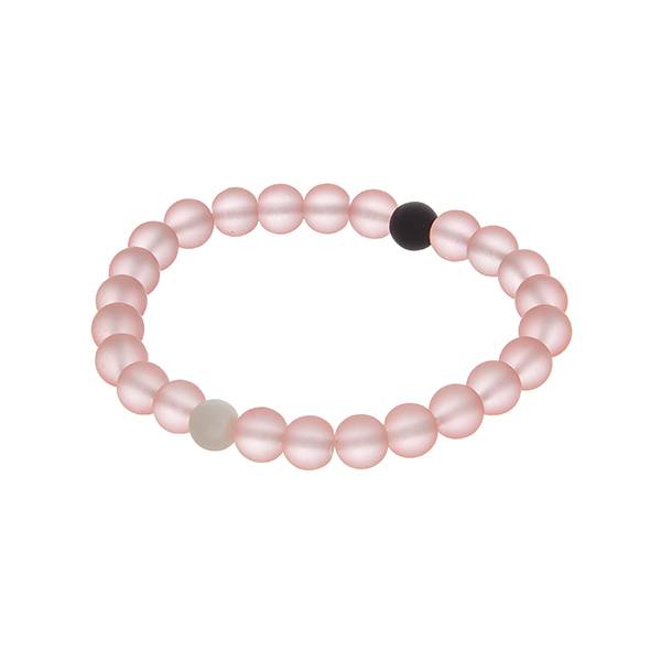 Wholesale peach beaded stretch bracelet one white bead one black bead