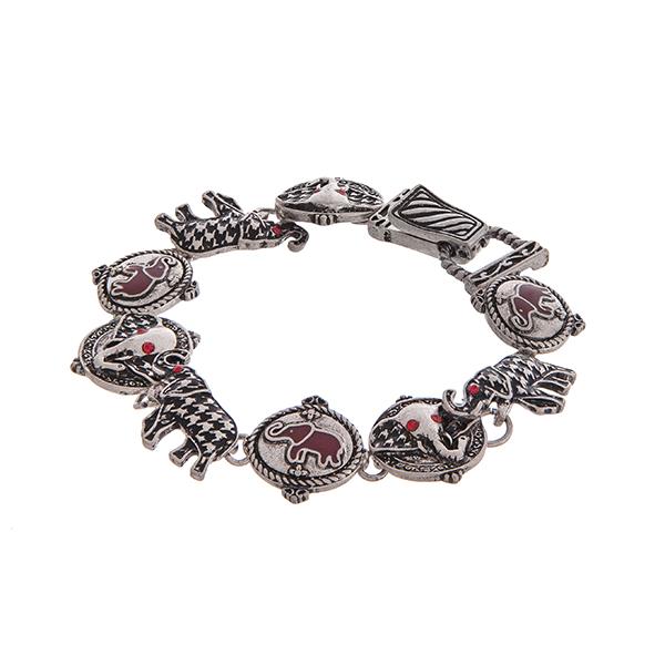 Wholesale worn silver bracelet houndstooth elephants red rhinestones