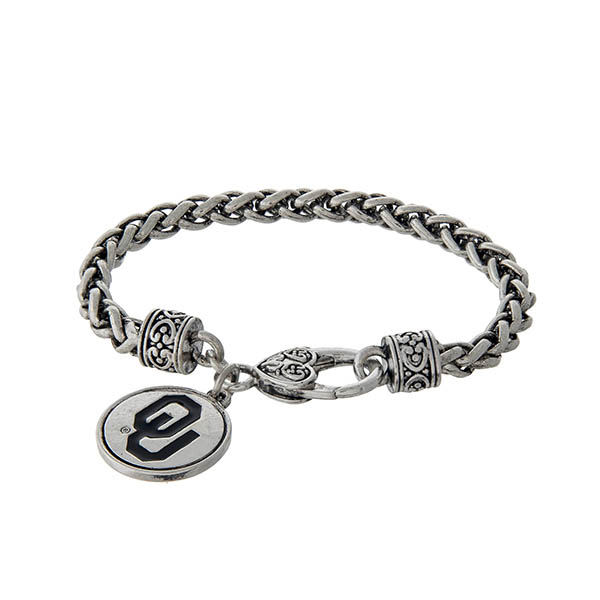 Wholesale officially licensed University Oklahoma silver braided bracelet lobste