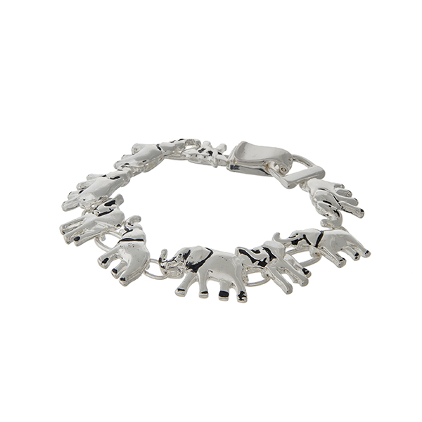 Wholesale silver magnetic bracelet displaying elephants