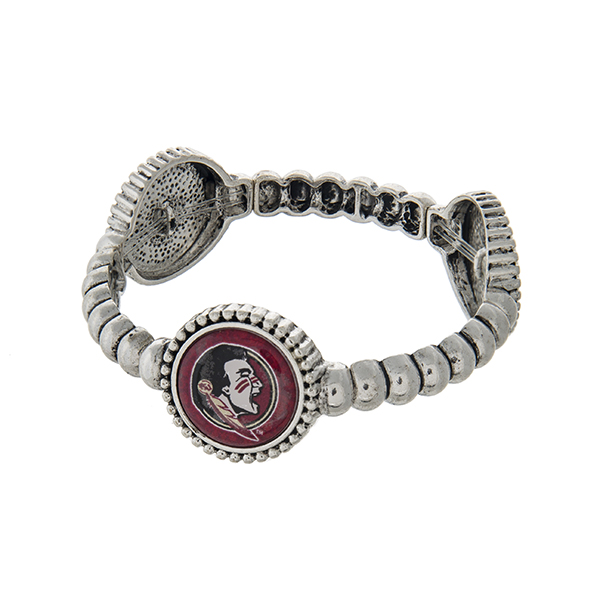 Wholesale officially licensed silver Florida State University stretch bracelet t