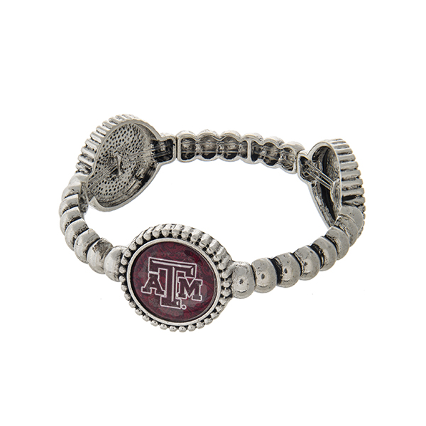 Wholesale officially licensed silver Texas M University stretch bracelet three s