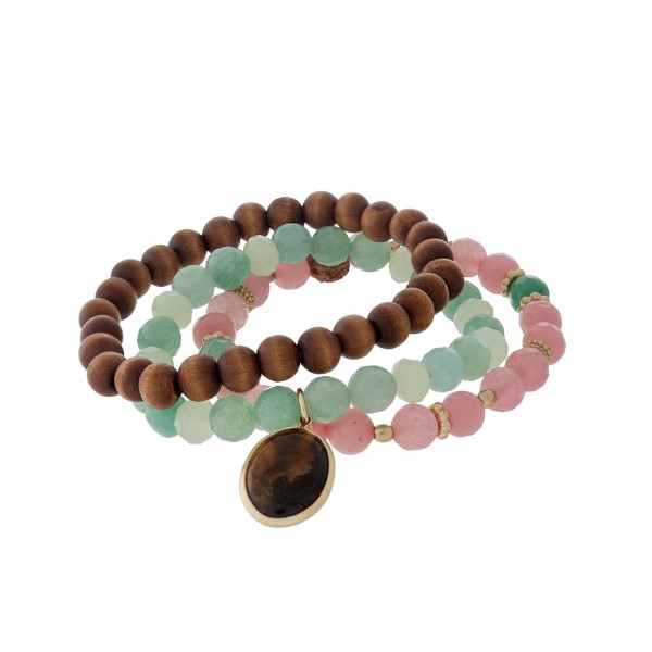 Wholesale three piece beaded stretch bracelet wooden mint pink beads