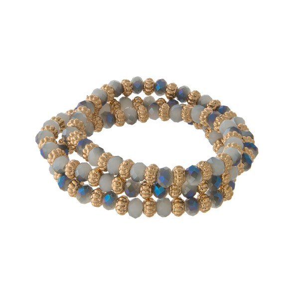 Wholesale iridescent blue gray beaded wrap stretch bracelet gold beads