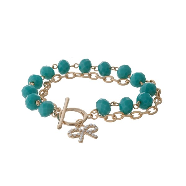 Wholesale gold toggle bracelet turquoise faceted beads bow charm