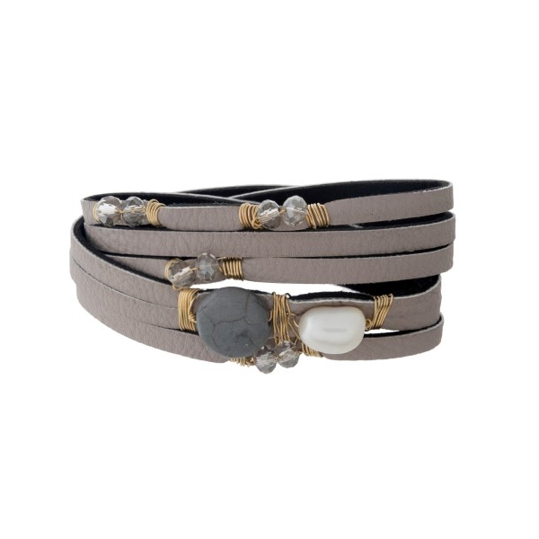 Wholesale gray faux leather wrap bracelet gray clear pearl wire wrapped beads