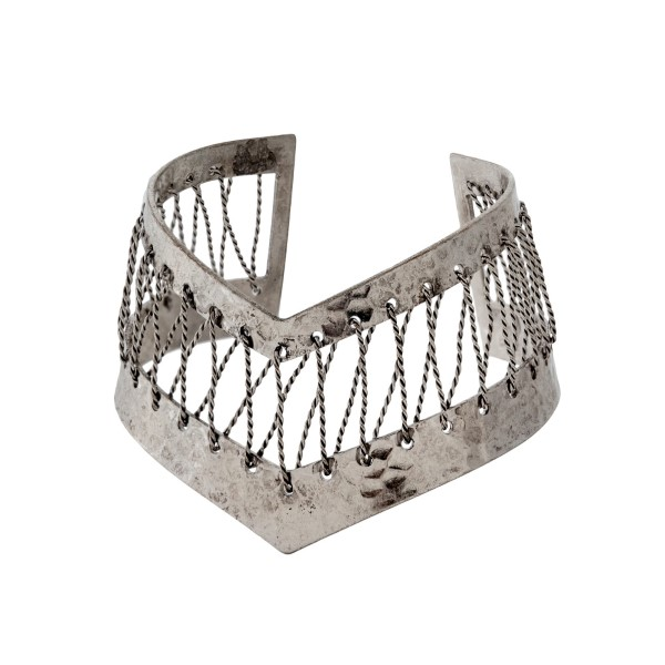 Wholesale burnished silver pointed cuff bracelet