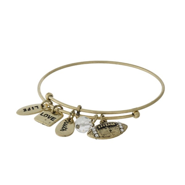 Wholesale gold adjustable bangle bracelet football charm clear faceted bead