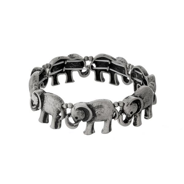 Wholesale silver stretch bracelet elephant
