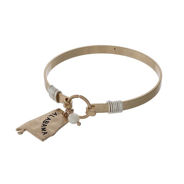 Wholesale gold bangle bracelet Alabama charm pearl bead accent