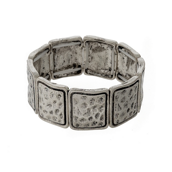 Wholesale hammered silver stretch bracelet