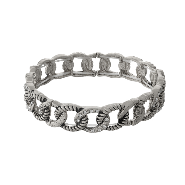 Wholesale silver stretch bracelet clear rhinestone accents
