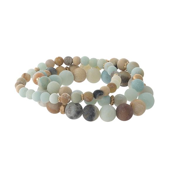 Wholesale three piece amazonite natural stone beaded bracelet set