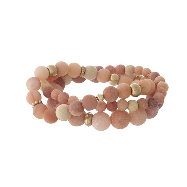 Wholesale three piece peach natural stone beaded bracelet set