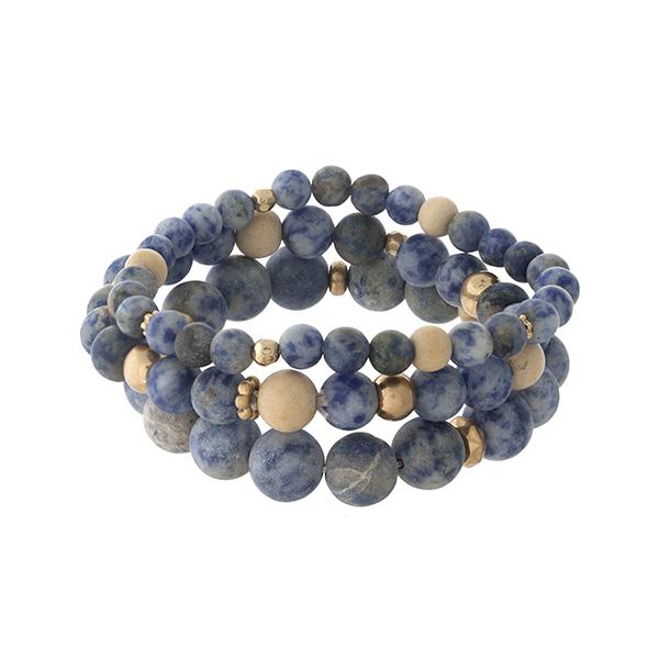 Wholesale three piece sodalite natural stone beaded bracelet set