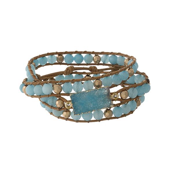 Wholesale light blue beaded wrap bracelet druzy stone button closure