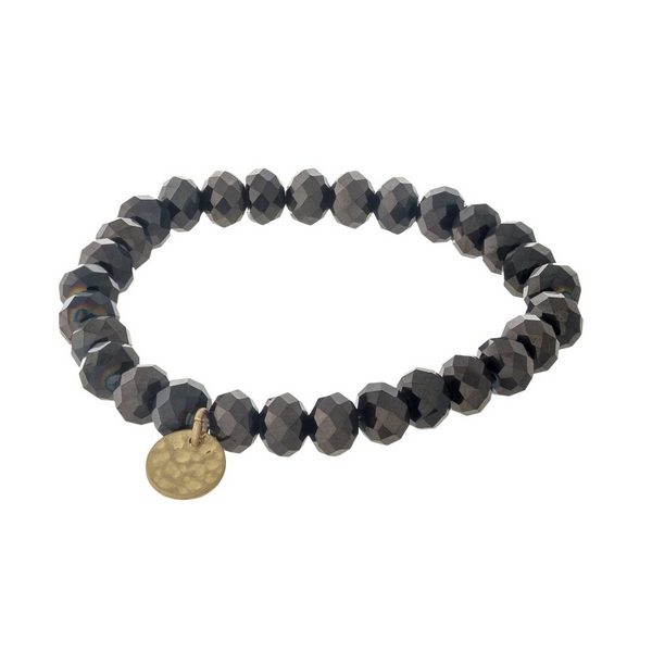 Wholesale hematite faceted bead stretch bracelet hammered gold circle charm
