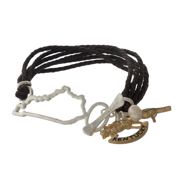Wholesale brown braided cord bracelet silver Kentucky gold charms toggle closure