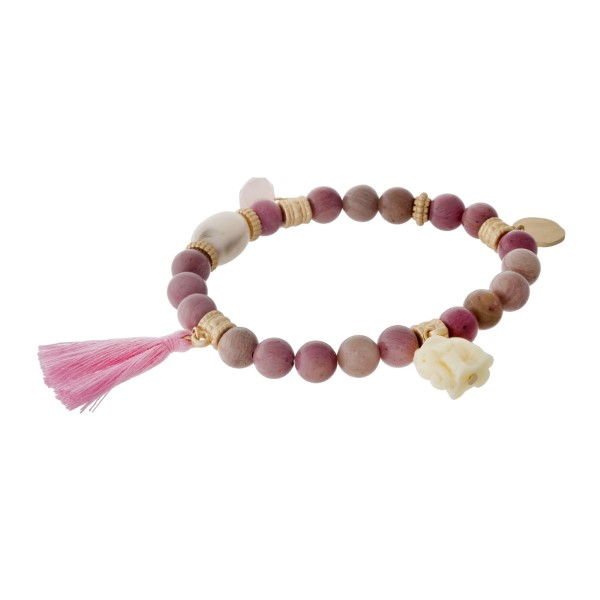 Wholesale mauve natural stone beaded stretch bracelet pink tassel gold accents e