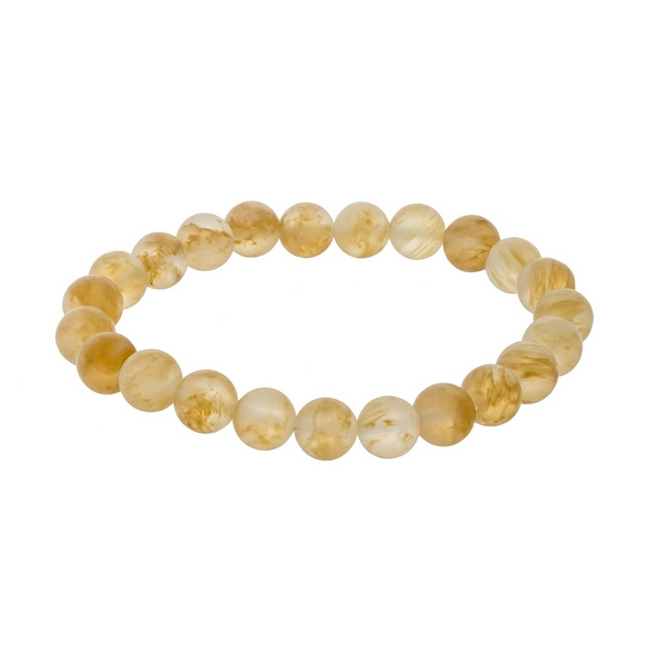 Wholesale matte beige natural stone beaded stretch bracelet