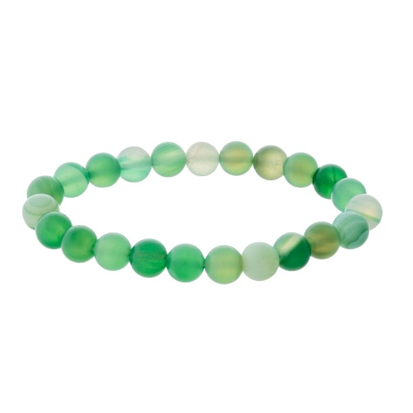 Wholesale matte green natural stone beaded stretch bracelet