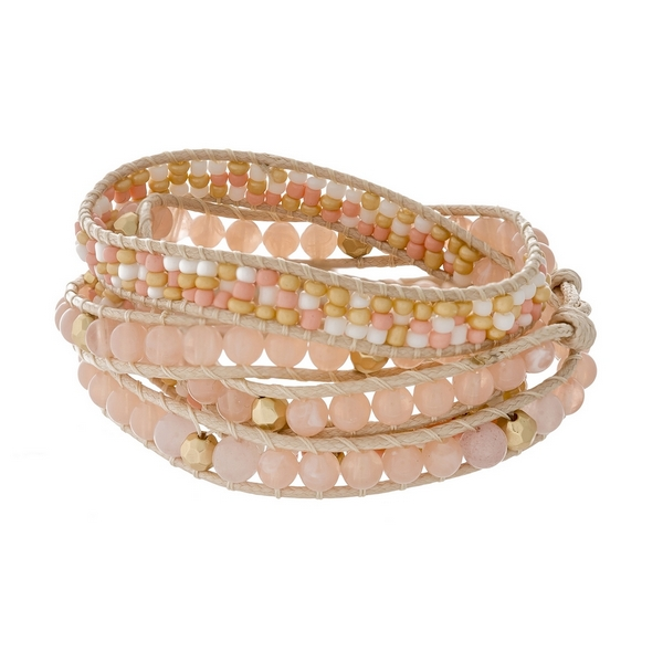 Wholesale ivory cord wrap bracelet peach faceted natural stone beads gold accent