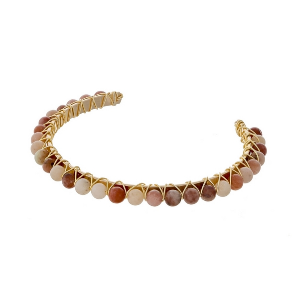 Wholesale gold cuff bracelet wire wrapped peach ivory natural stone beads
