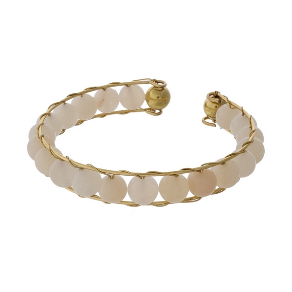 Wholesale gold cuff bracelet wire wrapped ivory beads
