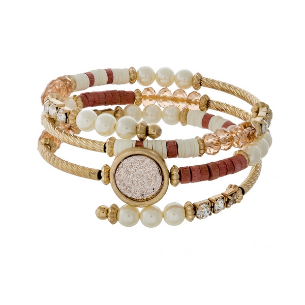 Wholesale gold coil bracelet pearl beads pink faceted beads pink faux druzy ston