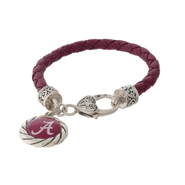 Wholesale officially licensed University Alabama faux leather bracelet silver cl