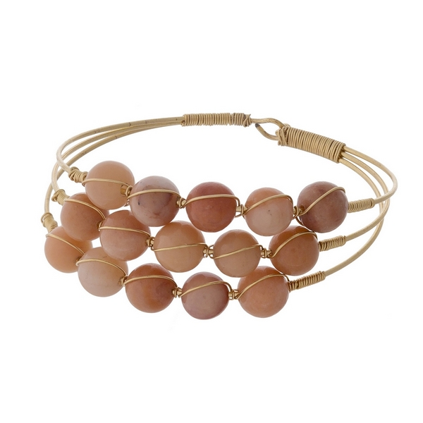Wholesale gold bracelet three rows wire wrapped peach natural stone beads