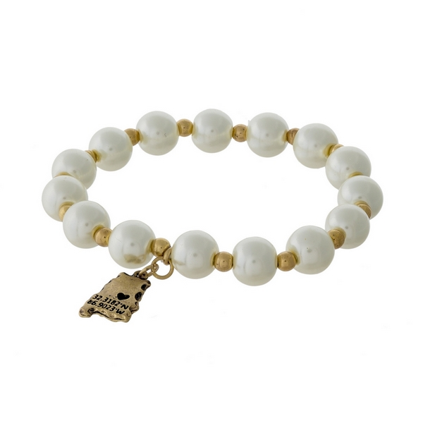 Wholesale gold pearl beaded stretch bracelet state Alabama charm