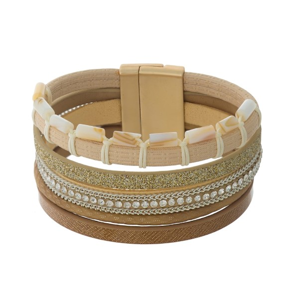 Wholesale brown tan beige faux leather magnetic bracelet ivory beaded accents