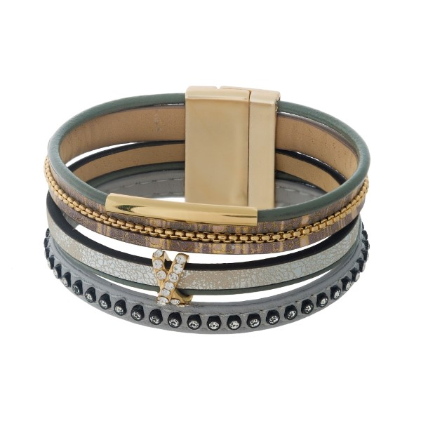 Wholesale brown tan gray faux leather magnetic bracelet clear rhinestone accent