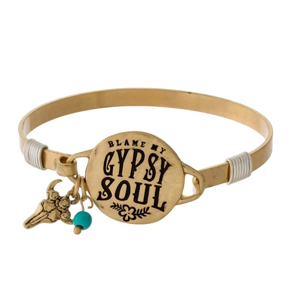 Wholesale bangle bracelet circle stamped blame my gypsy soul accent charm