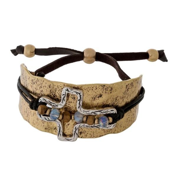 Wholesale hammered burnished metal bracelet beaded two cross black cord tie