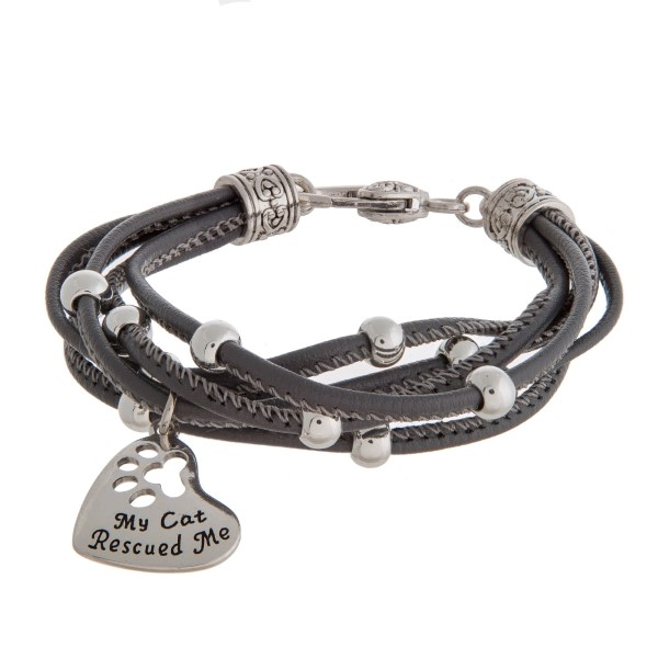 Wholesale faux leather bracelet silver beads lobster clasp stamped charm